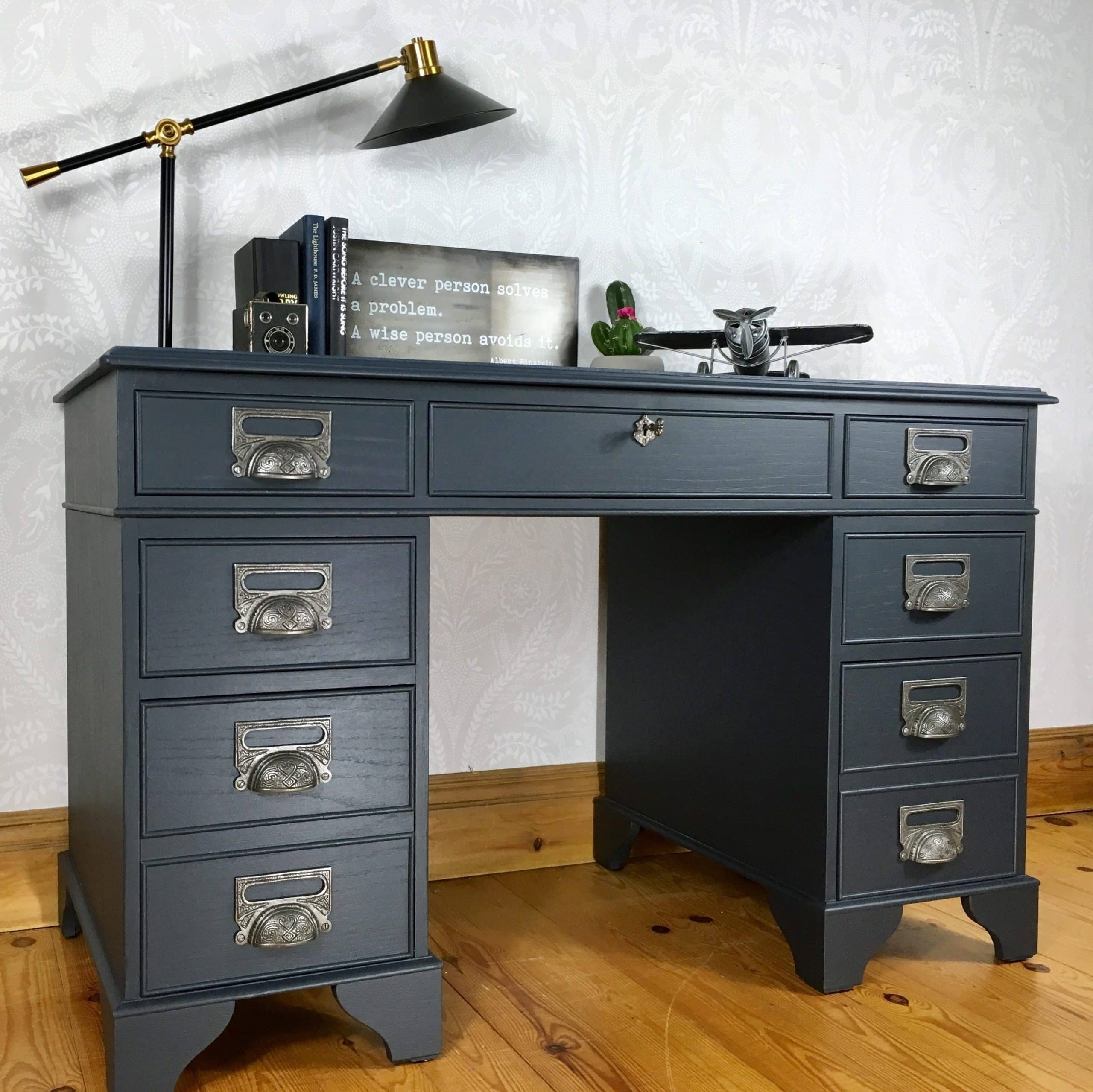 double pedestal desk office desk large study desk dark blue painted wooden desk 0 1 edited scaled